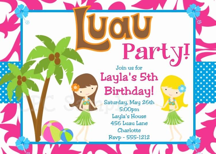 Hawaiian themed Invitation Templates Free New Luau Party Invitations