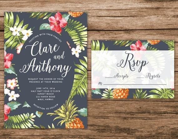 Hawaiian themed Invitation Templates Free Unique Hawaiian Wedding Invitation Tropical Wedding by