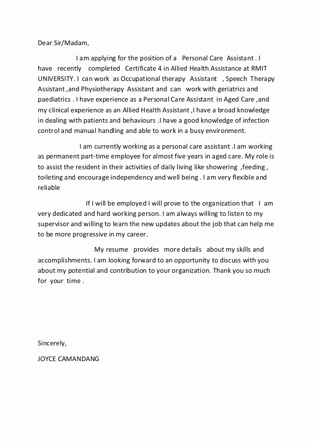 Health Care Letter Of Recommendation Beautiful Allied Health assistance Cover Letter