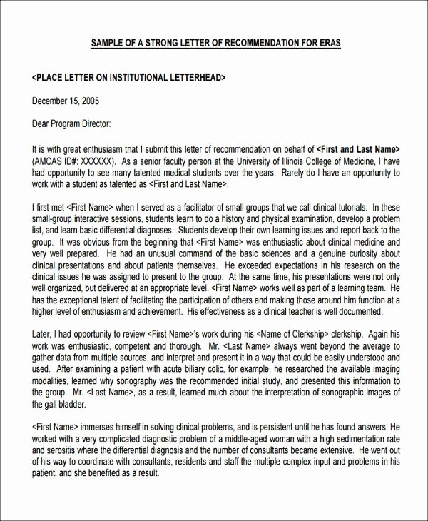 Health Care Letter Of Recommendation Beautiful Medical School Reference Letter Sample Letter Template