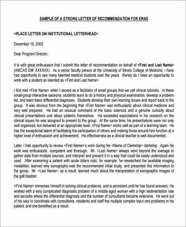 Health Care Letter Of Recommendation Best Of 8 Sample Medical School Re Mendation Letters