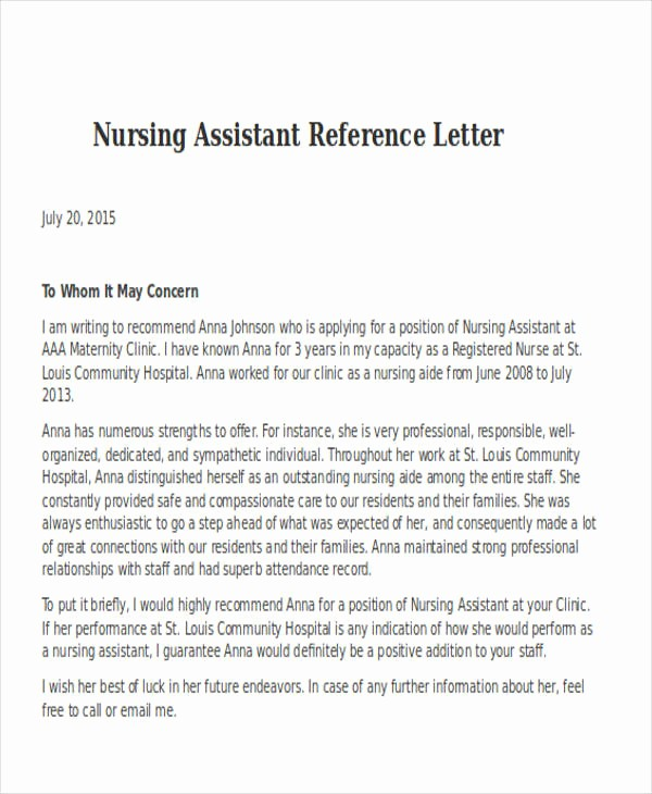 Health Care Letter Of Recommendation Elegant Nursing Reference Letter Templates 12 Free Word Pdf