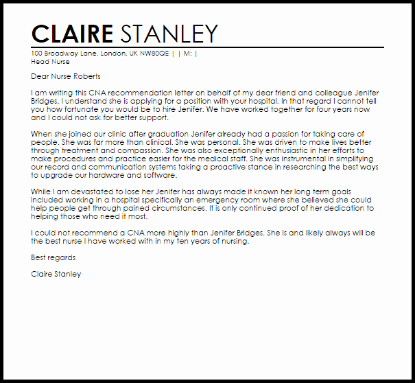 Health Care Letter Of Recommendation Inspirational Personal Reference Letter Sample Home Health Aide