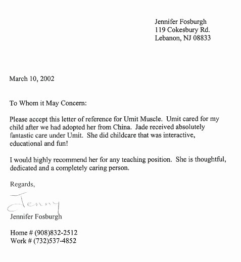 Health Care Letter Of Recommendation Lovely Child Caregiver Cover Letter for Concept