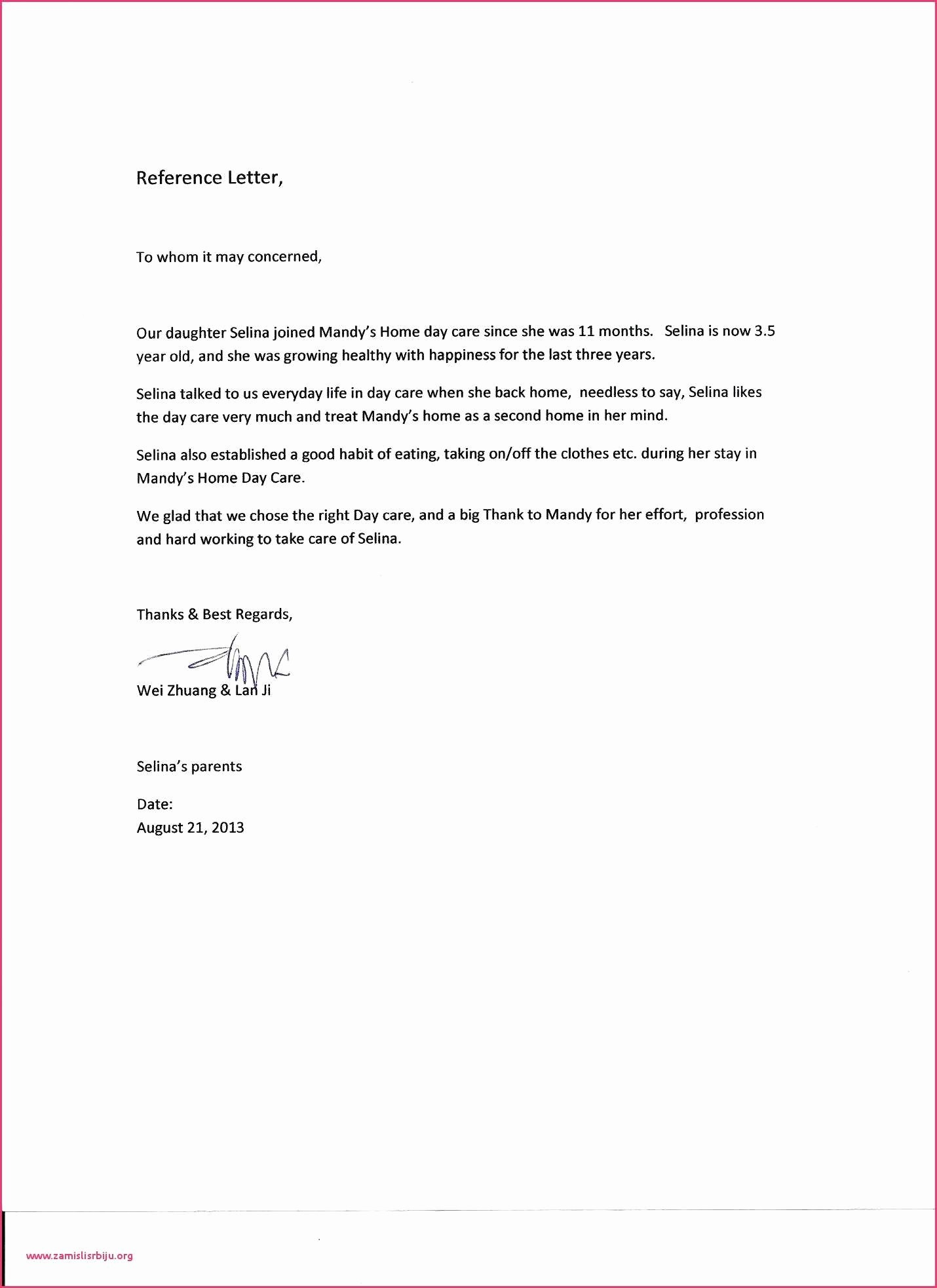 Health Care Letter Of Recommendation New Reference Letter for Home Health Aide Sample Babysitter