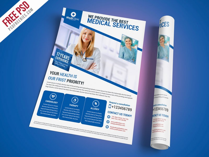Healthcare Brochure Templates Free Download Awesome Free Psd Medical Services Flyer Template Psd by Psd