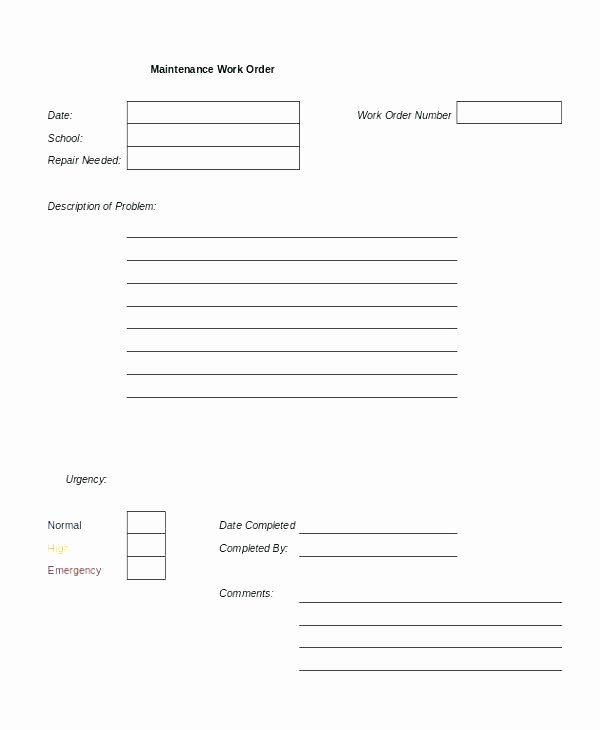 Help Desk Ticket Template Word Fresh Work order Template Excel Auto Repair Word format Download