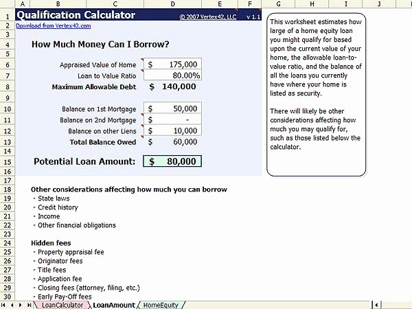 Help today Personal Loans Excel Inspirational Home Equity Calculator Free Home Equity Loan Calculator