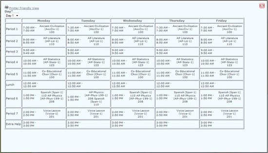 High School Class Schedule Example Awesome High School Class Schedule Example High School Class