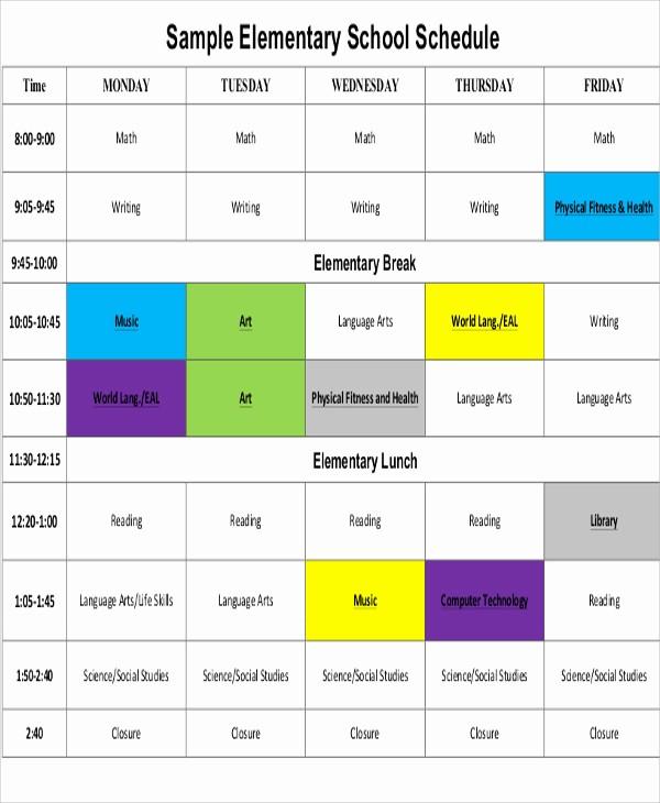 High School Class Schedule Example Best Of School Schedule Templates 10 Free Samples Examples