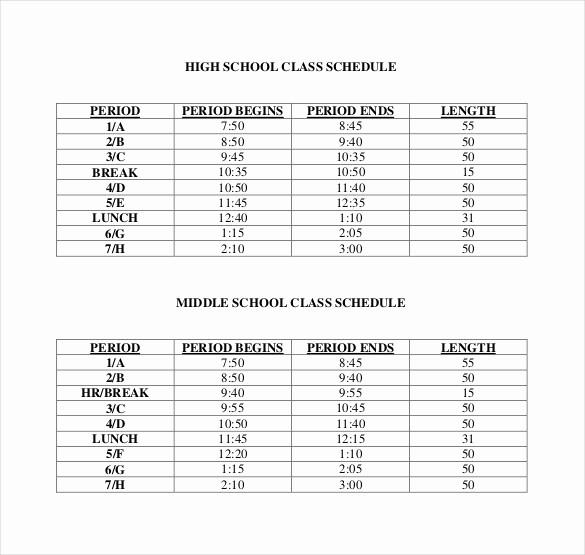 High School Class Schedule Example Elegant Class Schedule Template 36 Free Word Excel Documents