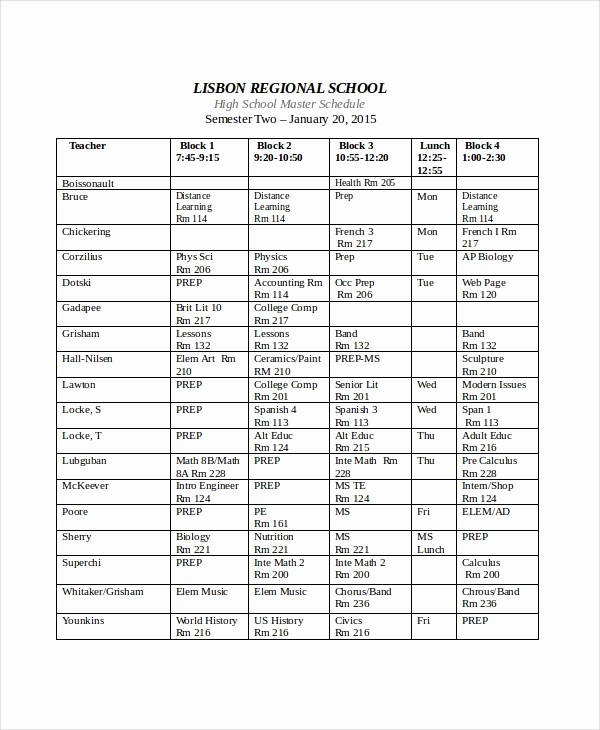 High School Class Schedule Example Elegant Master Schedule Template 11 Free Word Pdf Documents