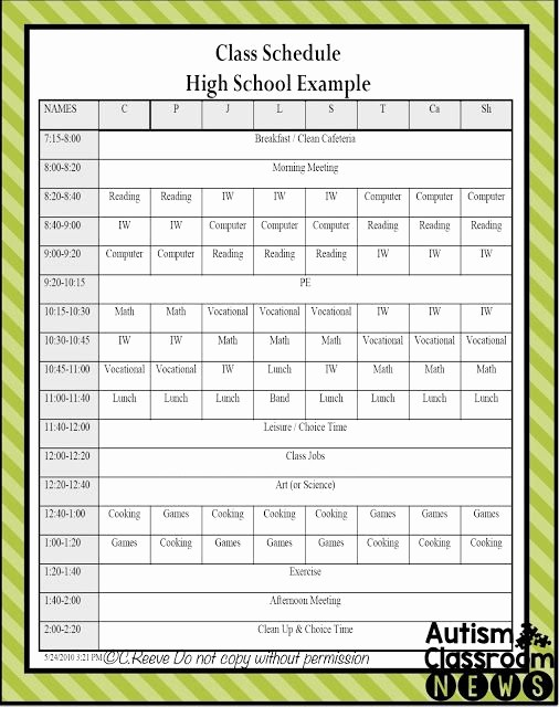 High School Class Schedule Example Fresh 5 Examples Of Setting Classroom Schedules In Special