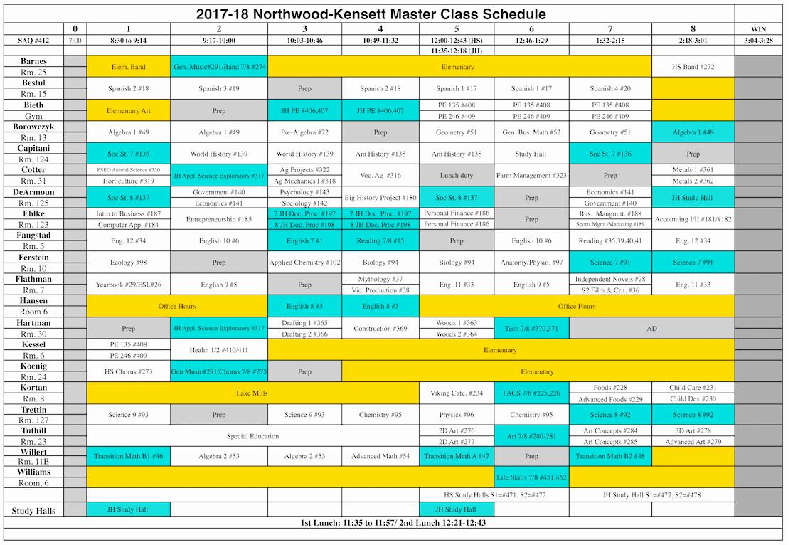 High School Class Schedule Example Fresh northwood Kensett 2017 2018 High School Class Schedule