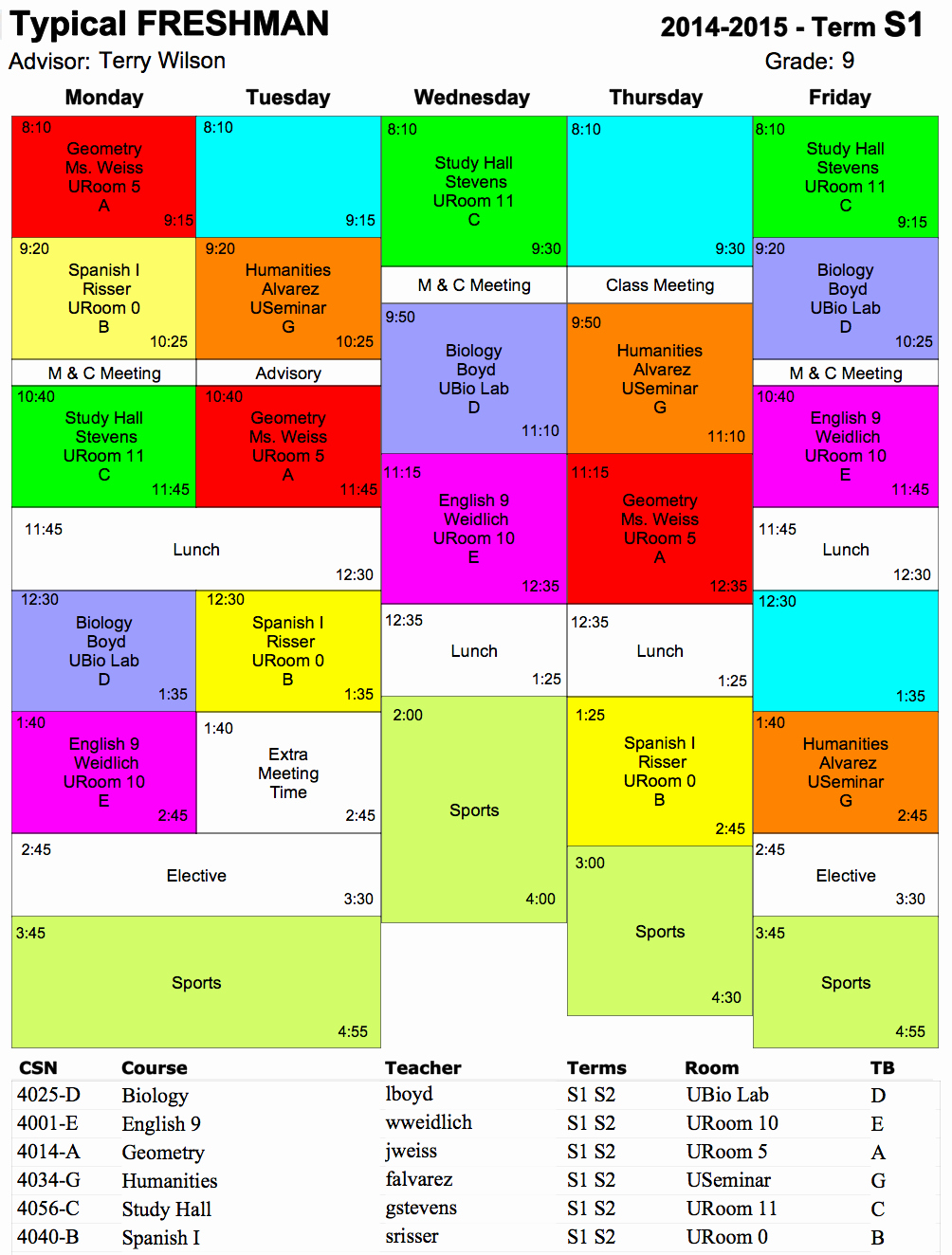 High School Class Schedule Example Inspirational Typical Schedule Hs Ojai Valley School Private