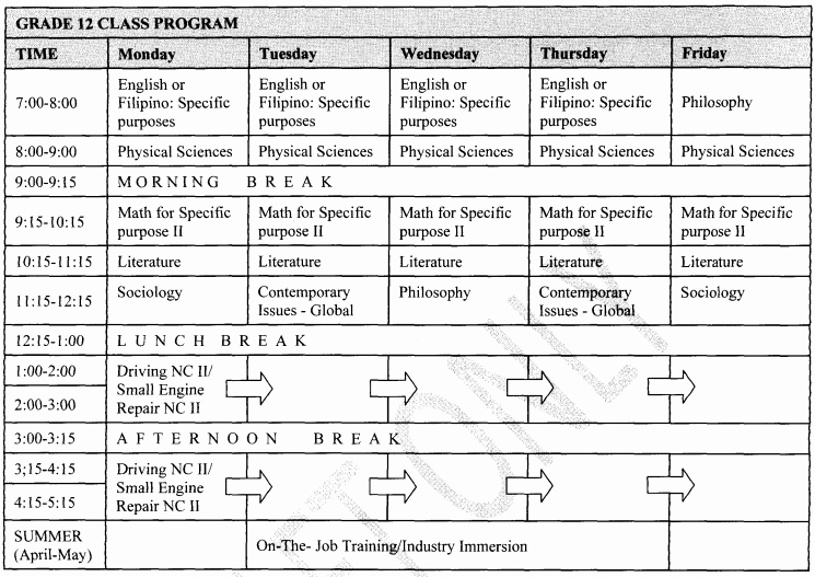 High School Class Schedule Example Lovely An Education Plan In Texas Mimicking Philippines Deped S