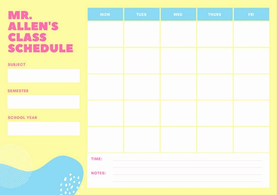 High School Class Schedule Example Lovely Yellow and Purple Preschool Class Schedule Templates by