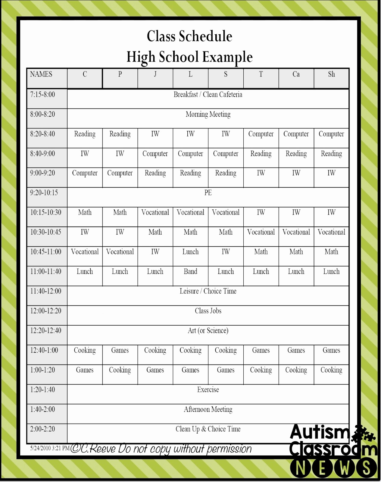 High School Class Schedule Example Luxury 5 Examples Of Setting Classroom Schedules In Special