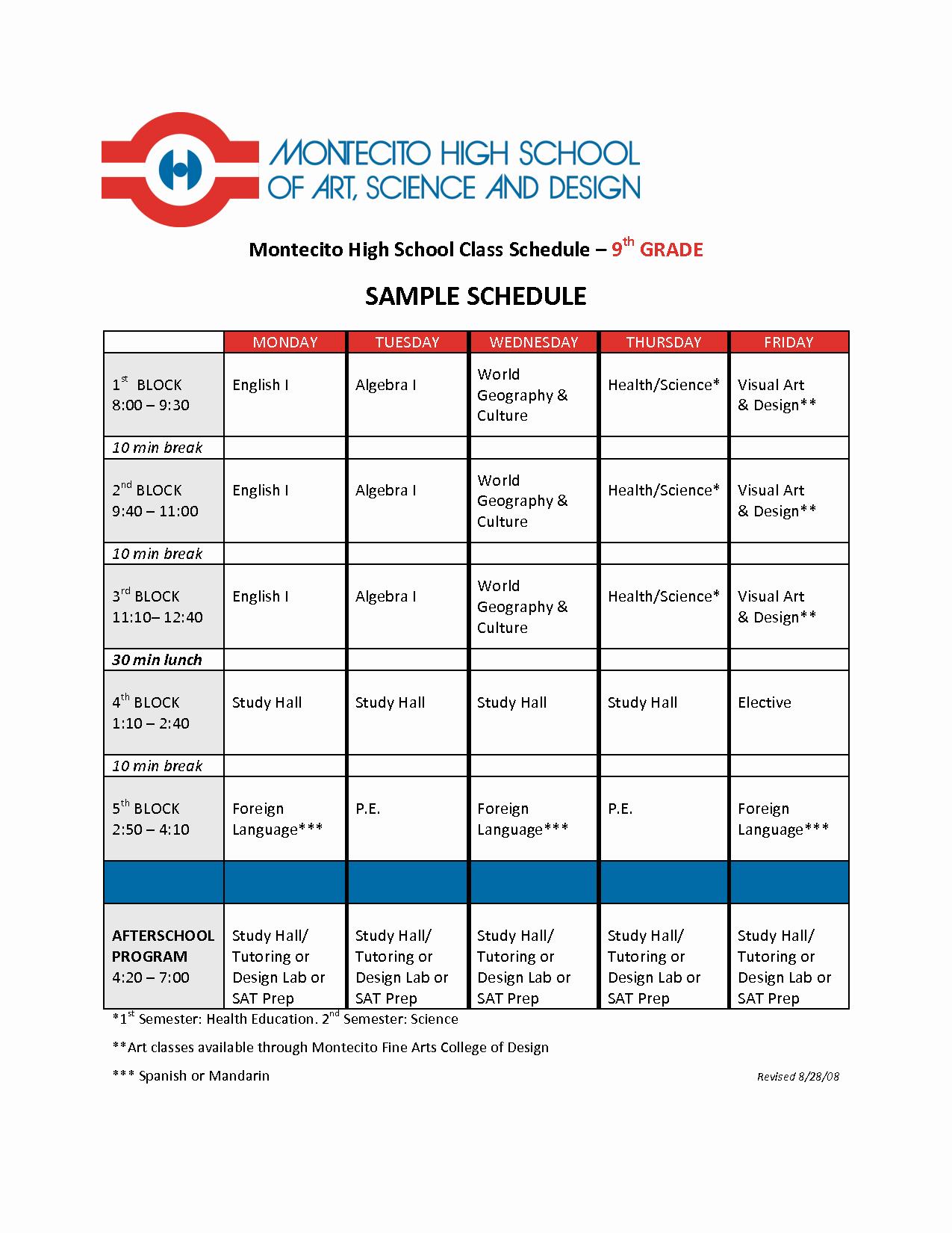 High School Class Schedule Example Luxury Best S Of Student School Schedule Template School