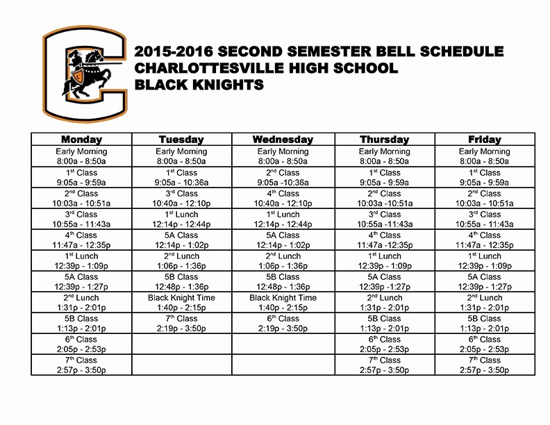 High School Class Schedule Example Luxury Chs Hours and Bell Schedule