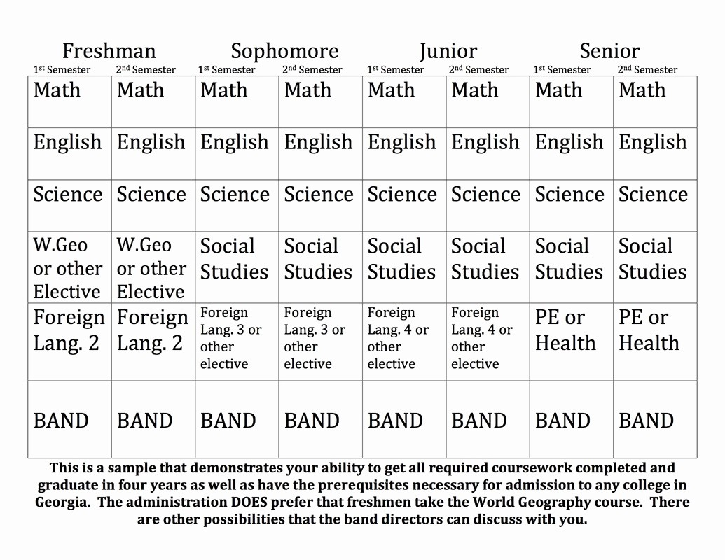 High School Class Schedule Example Luxury Sample 4 Year Schedule Alan C Pope High School Band
