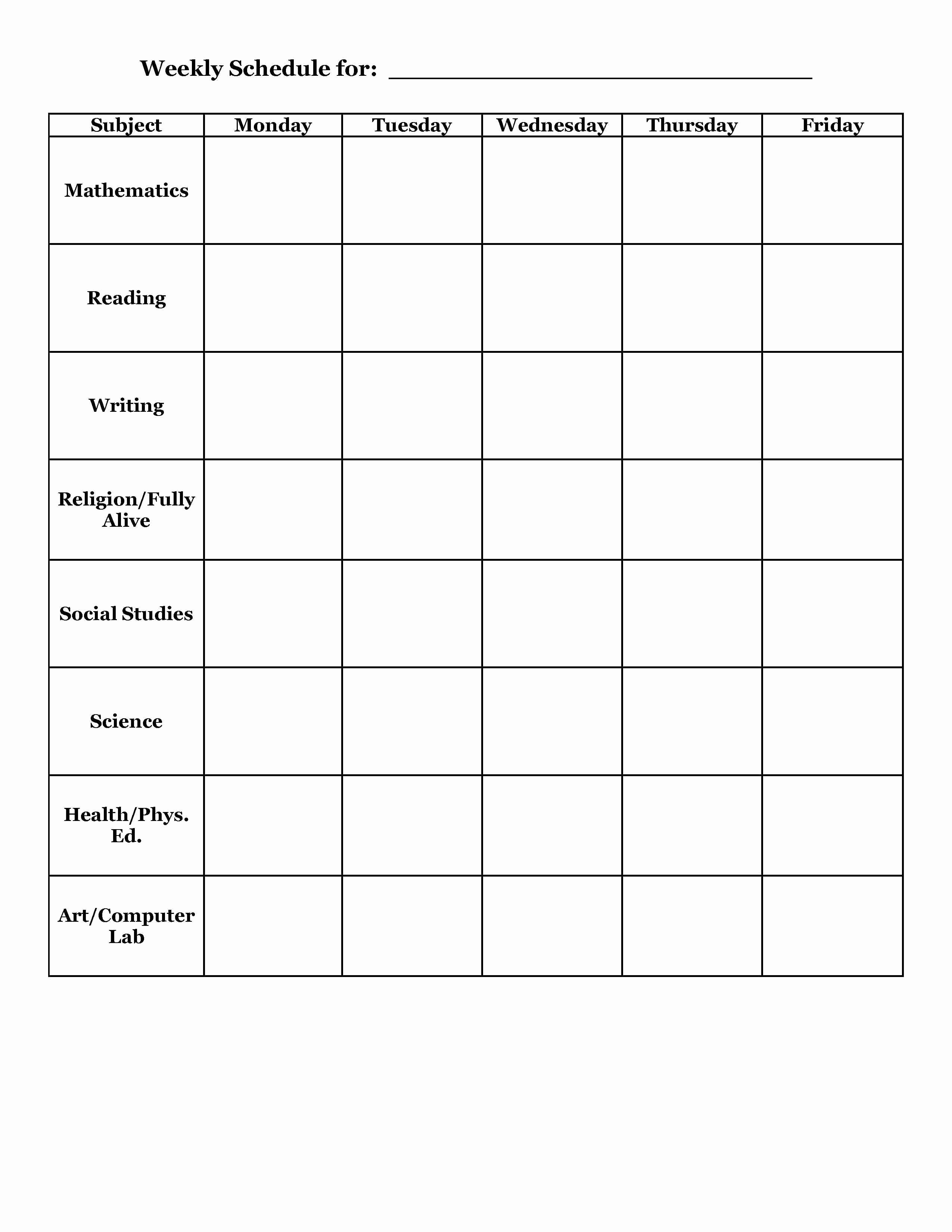 High School Class Schedule Example Luxury Student Planner Templates