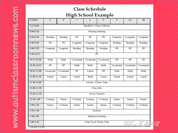 High School Class Schedule Example New A Special Sparkle Setting Up A Secondary Life Skills Class