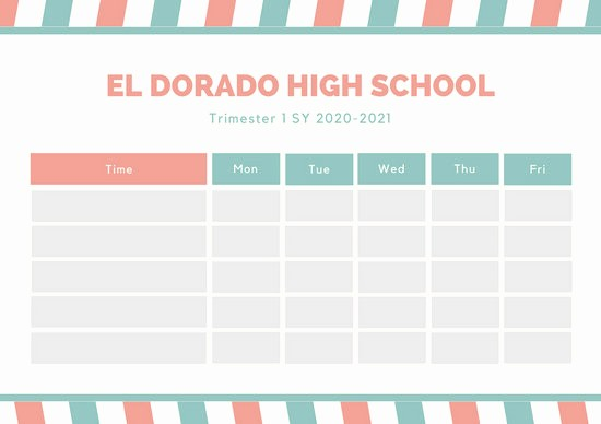 High School Class Schedule Example Unique Customize 2 722 Class Schedule Templates Online Canva