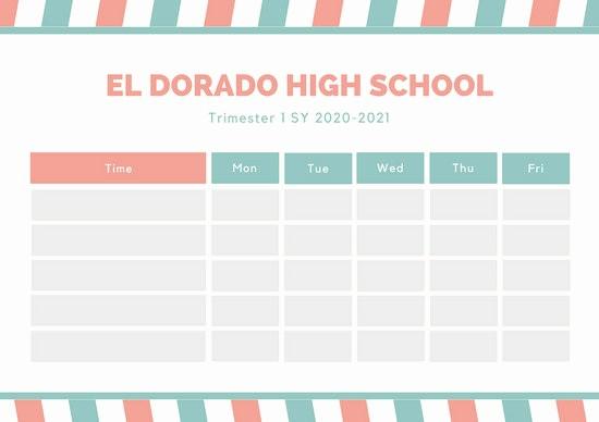 High School Class Schedule Example Unique Customize 2 722 Class Schedule Templates Online Canva