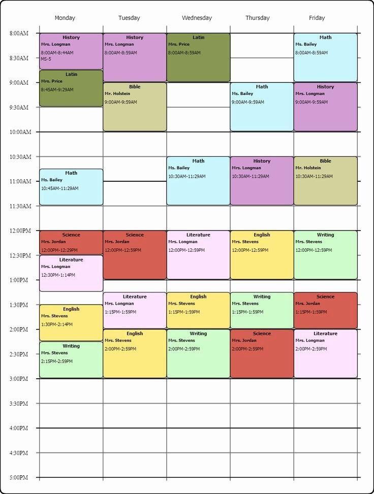 High School Class Schedule Example Unique High School Schedule Examples 1000 Ideas About Schedule