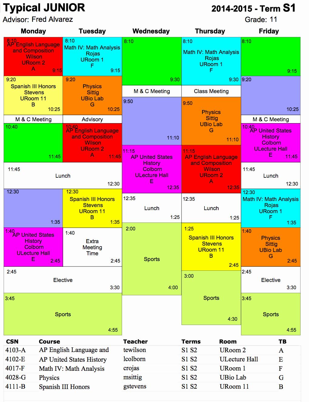 High School Class Schedule Sample Beautiful Typical Schedule Hs Ojai Valley School Private