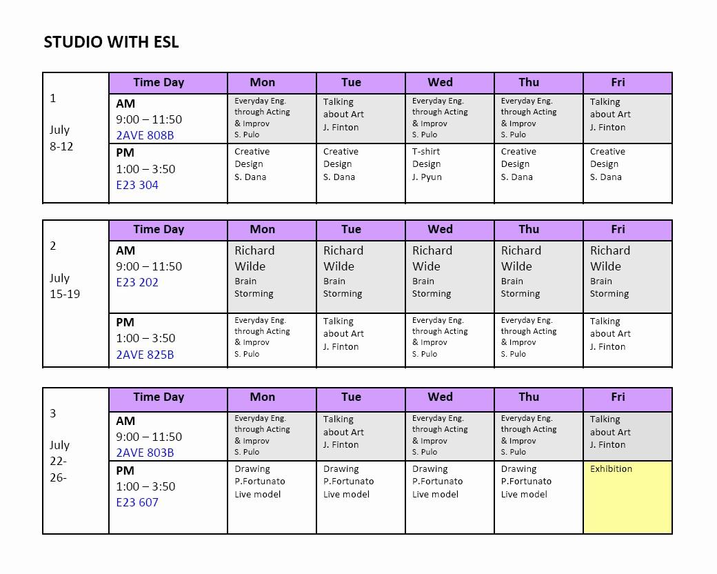 High School Class Schedule Sample New School Of Visual Arts Sva