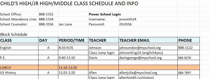 High School Class Schedule Sample Unique High School Class Schedule Template Wallpapers Frompo
