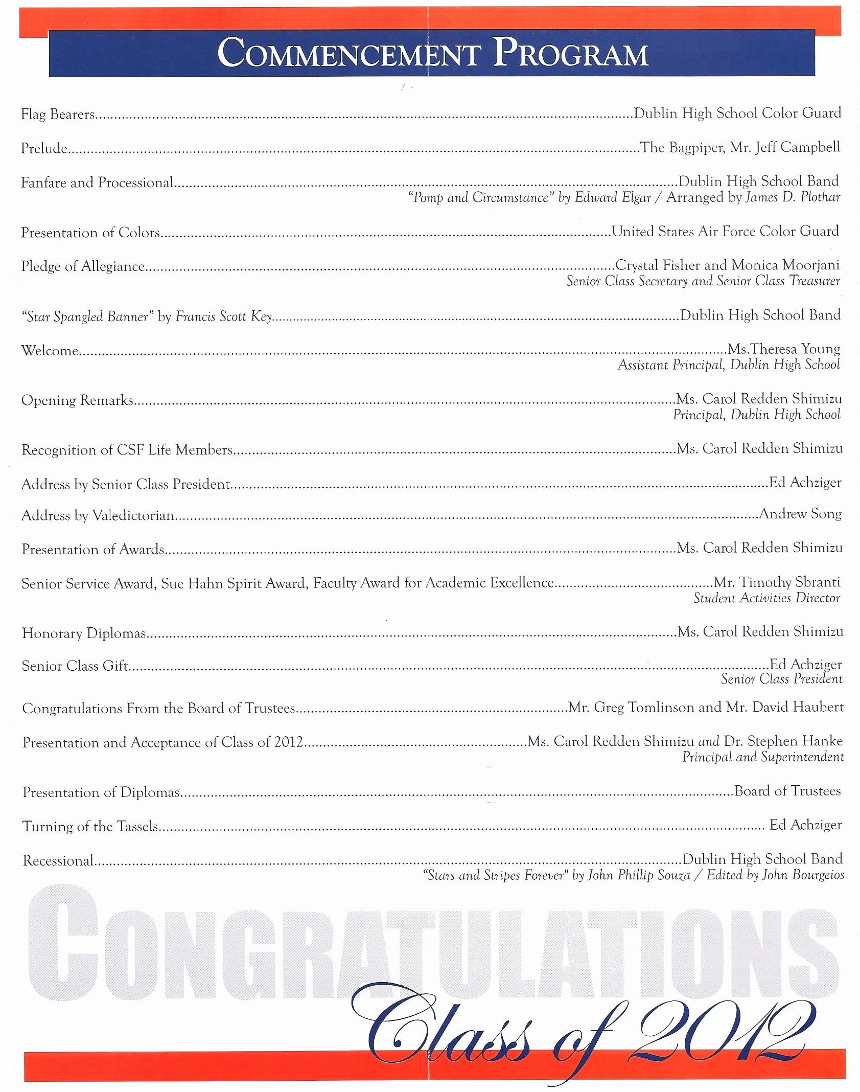 High School Graduation Program Template Awesome High School Graduation Ceremony Program Meganphoto