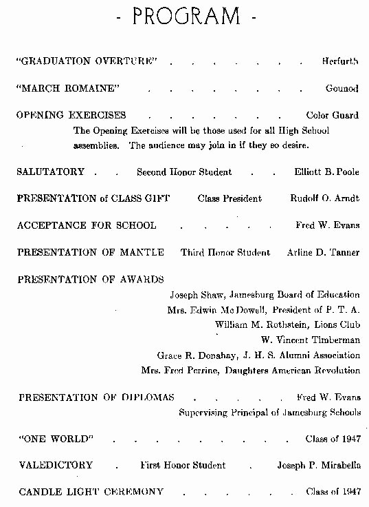 High School Graduation Program Template Beautiful Sample Jamesburg High School Graduation Program 1947
