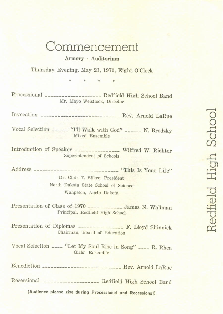 High School Graduation Program Template Best Of Redfield High School Class Of 1970 40 Year Reunion