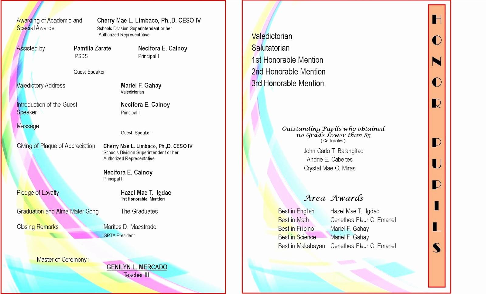 High School Graduation Program Template Lovely High School Graduation Program Cover Design 2015 2016