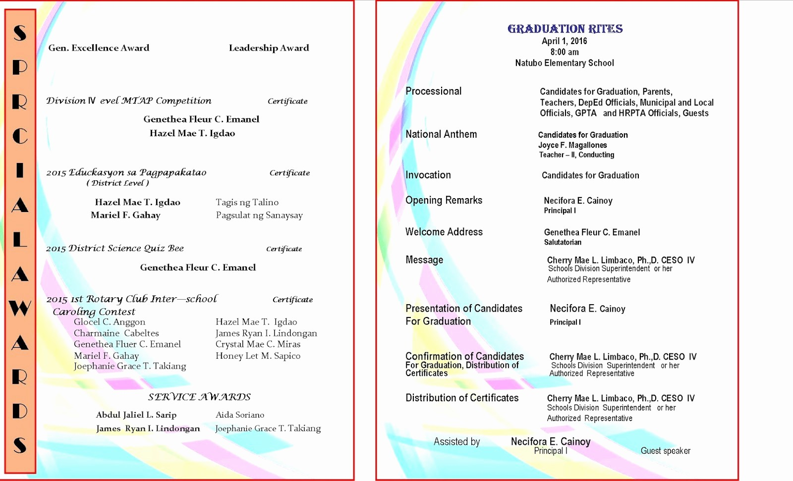 High School Graduation Program Template New 2015 2016 Graduation Program New Template Deped Lp S