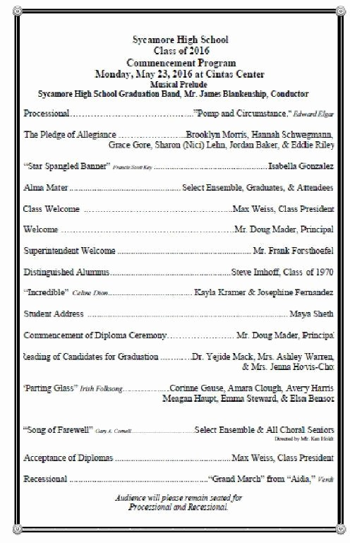 High School Graduation Program Template New High School Graduation Ceremony Program Meganphoto