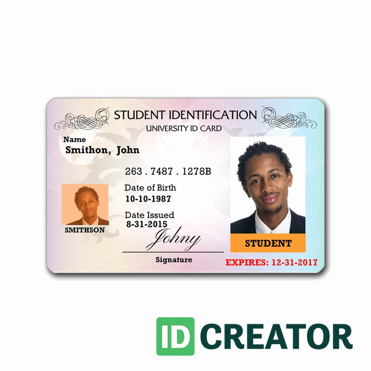 High School Id Card Template Beautiful School Id Card Design