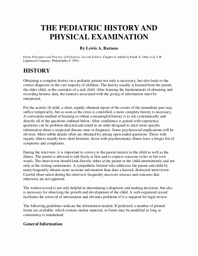 History and Physical Template Free Best Of the Pediatric History and Physical Examination