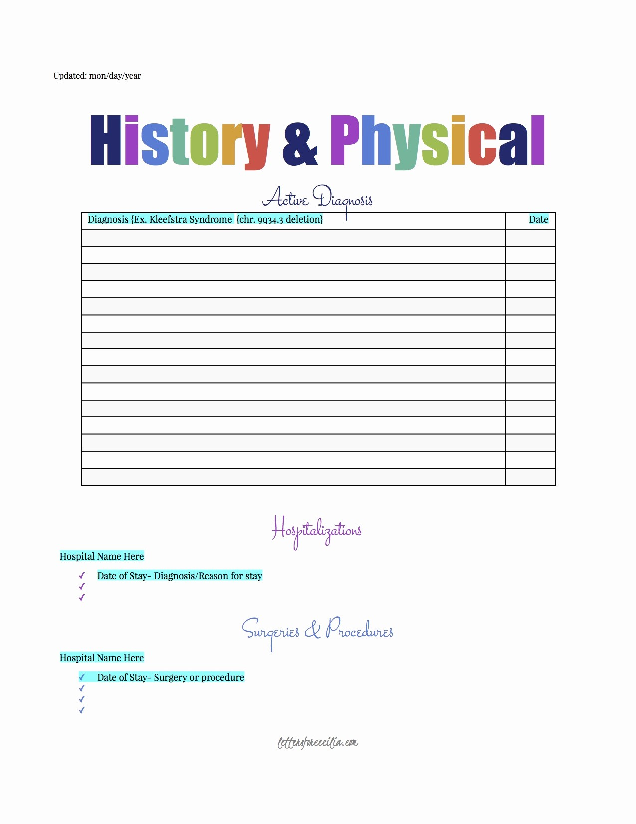 History and Physical Template Free Lovely Printable's