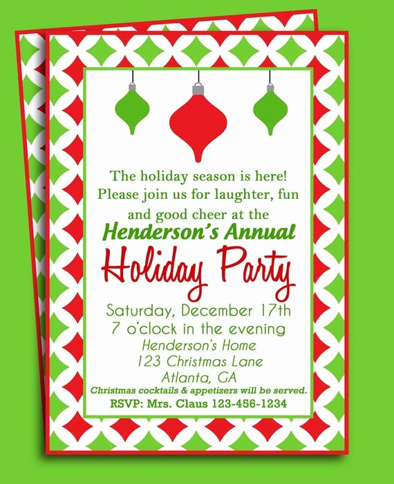 Holiday Party Invitations Template Word Beautiful Christmas Party Invitation Printable or Printed with Free