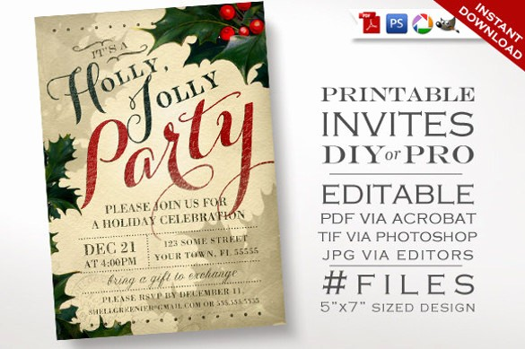Holiday Party Invitations Template Word Best Of 20 Christmas Invitation Templates Free Sample Example