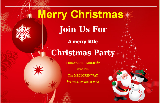 Holiday Party Invitations Template Word Elegant Ms Word Merry Christmas Party Invitation Cards