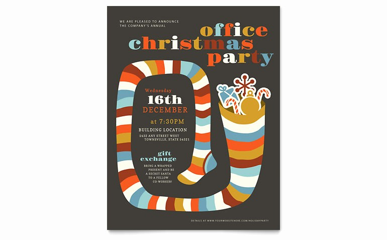 Holiday Party Invitations Template Word Luxury Christmas Party Flyer Template Word & Publisher