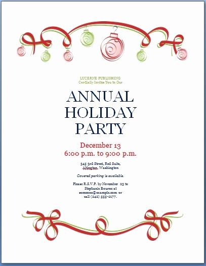 Holiday Party Invitations Template Word Luxury Holiday Party Invitation Template
