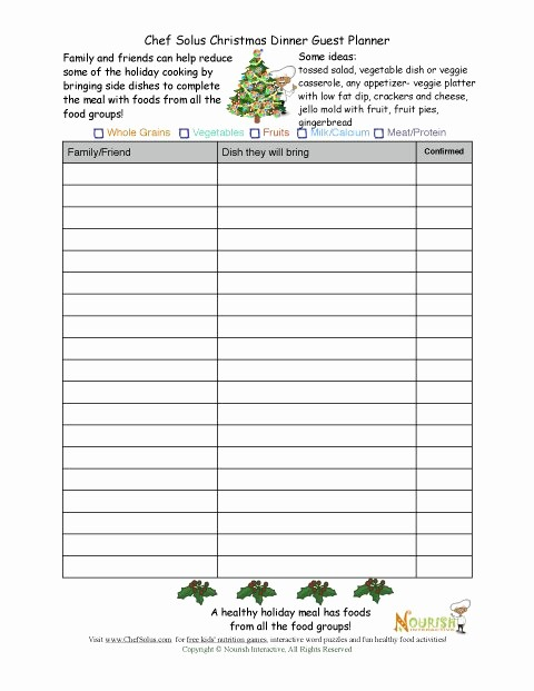 Holiday Party Sign Up Sheet Elegant Healthy Holiday Guest Planning Sheet
