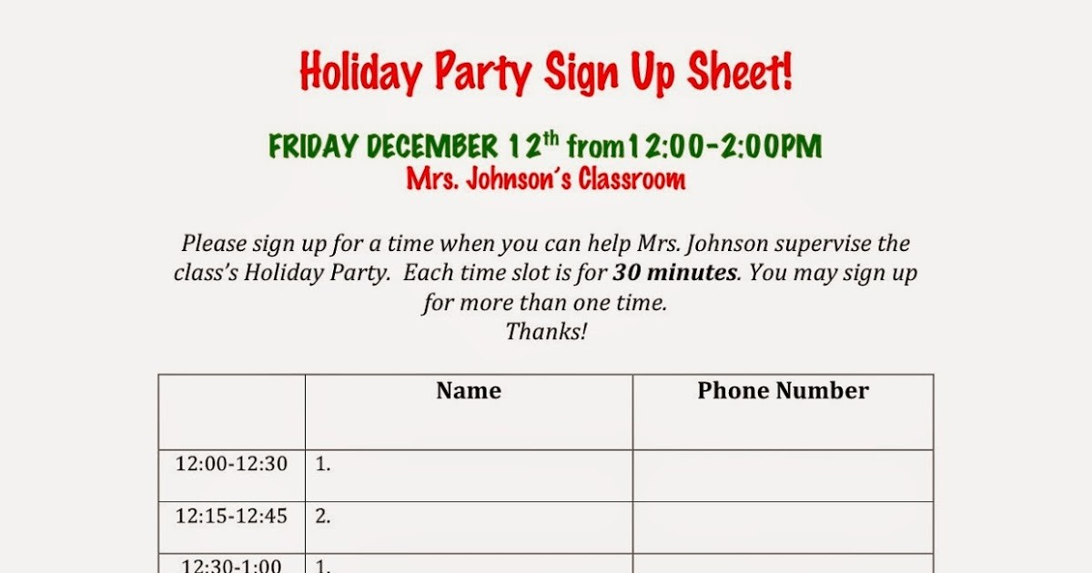 Holiday Party Sign Up Sheet Inspirational Avenue B Holiday Party Sign Up Sheets