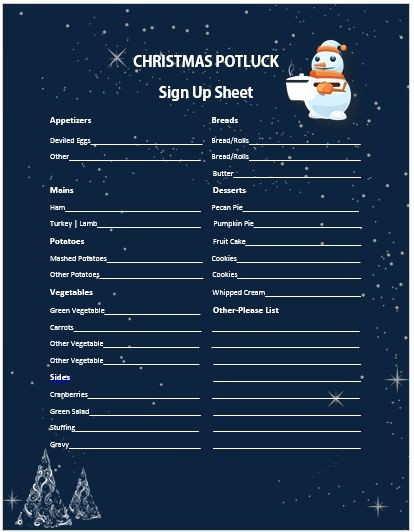 Holiday Party Sign Up Sheet Lovely 13 Gorgeous Christmas Potluck Signup Sheets to Impress